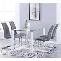 Product photograph showing Milano Glass Dining Set With 4 New York Grey Chairs