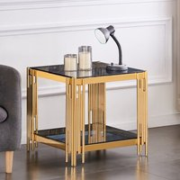 Product photograph showing Milano Grey Glass Side Table With Gold Stainless Steel Legs