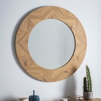 Product photograph showing Milano Round Wooden Frame Wall Mirror In Mat Lacquer