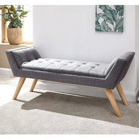 Product photograph showing Milanos Fabric Upholstered Window Seat Bench In Dark Grey