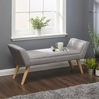 Product photograph showing Milanos Fabric Upholstered Window Seat Bench In Grey