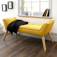Product photograph showing Milanos Fabric Upholstered Window Seat Bench In Yellow