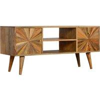 Milena Wooden Sunrise Pattern TV Stand In Oak Ish