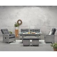 Milkeep Sofa With Dining Set With Recliner Chair In Cloudy Grey