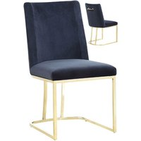 Product photograph showing Milo Black Velvet Dining Chairs In A Pair With Gold Steel Base