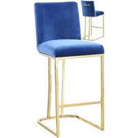 Product photograph showing Milo Blue Velvet Bar Stool In Pair With Gold Steel Base