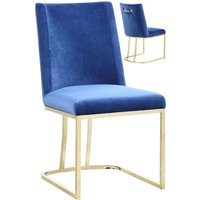 Product photograph showing Milo Blue Velvet Dining Chairs In A Pair With Gold Steel Base
