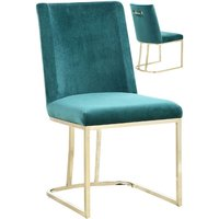 Product photograph showing Milo Green Velvet Dining Chairs In A Pair With Gold Steel Base