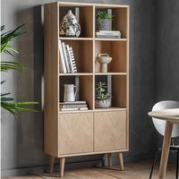 Product photograph showing Milsta Wooden 2 Doors Open Display Cabinet In Natural