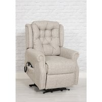 Product photograph showing Milton Fabric Upholstered Twin Motor Lift Recliner Chair In Sand