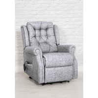Product photograph showing Milton Fabric Upholstered Twin Motor Lift Recliner Chair In Zinc