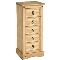 Product photograph showing Minoris Narrow Chest Of Drawers In Light Pine With 5 Drawers