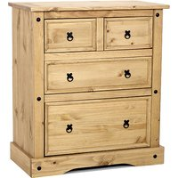 Product photograph showing Minoris Wide Chest Of Drawers In Light Pine With 4 Drawers