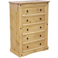 Product photograph showing Minoris Wide Chest Of Drawers In Light Pine With 5 Drawers
