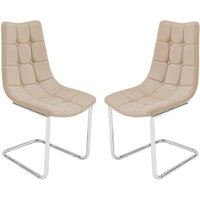 Product photograph showing Mintaka Beige Faux Leather Dining Chairs In Pair