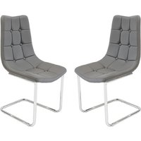 Product photograph showing Mintaka Grey Faux Leather Dining Chairs In Pair