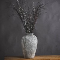Product photograph showing Minx Tall Ceramic Decorative Vase In Aged Stone