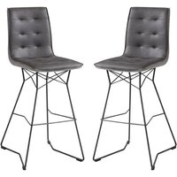 Product photograph showing Mirko Grey Fabric Bar Stool In Pair With Metal Legs