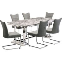 Product photograph showing Mitzi Grey Marble Dining Set With 6 Grey Velvet Chairs