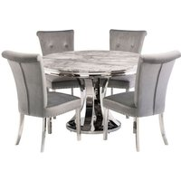 Mitzi Round Grey Marble Dining Set With 4 Grey Velvet Chairs