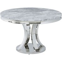 Mitzi Round Grey Marble Dining Table With Stainless Steel Base