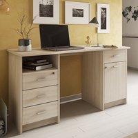 Product photograph showing Vista Corner Wooden Computer Desk In Shannon Oak
