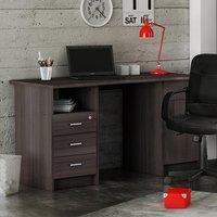 Product photograph showing Mizar Wooden Computer Desk In Vulcano Oak With 1 Door 4 Drawers