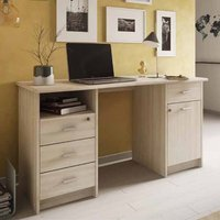 Product photograph showing Mizar Wooden Computer Desk In Shannon Oak With 1 Door 4 Drawers