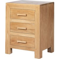 Modals Wooden Bedside Cabinet In Light Solid Oak With 3 Drawers