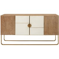 Modeco Wooden Sideboard In Gold Metal Frame