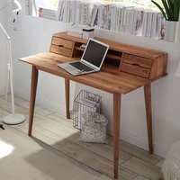 Product photograph showing Molton Wooden Computer Desk In Knotty Oak With 4 Drawers