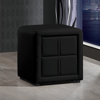 Monaco Faux Leather Bedside Cabinet In Black With 2 Drawers