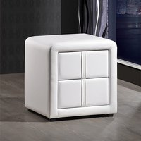 Monaco Faux Leather Bedside Cabinet In White With 2 Drawers