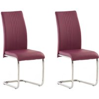 Product photograph showing Monaco Purple Pu Leather Dining Chair In A Pair