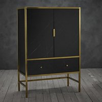 Product photograph showing Monaco Wooden Drinks Cabinet In Black With Gold Frame
