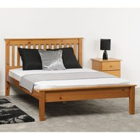 Product photograph showing Monaco Wooden Low Foot End King Size Bed In Antique Pine