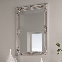 Product photograph showing Moncton Rectangular Bedroom Mirror In Silver Frame