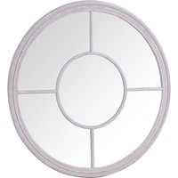 Product photograph showing Moncton Round Window Bedroom Mirror In Distressed Grey