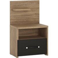 Moneti Left Handed Bedside Cabinet In Oak And Matt Black