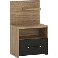 Moneti Right Handed Bedside Cabinet In Oak And Matt Black