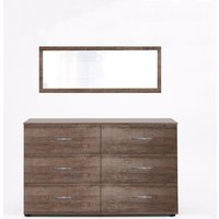 Monoceros Wooden Dressing Table In Muddy Oak With Mirror