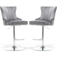 Product photograph showing Monten Dark Grey Velvet Gas-lift Bar Chairs In Pair