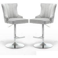Product photograph showing Monten Light Grey Velvet Gas-lift Bar Chairs In Pair
