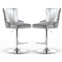Product photograph showing Monten Shimmer Grey Velvet Gas-lift Bar Chairs In Pair