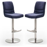 Product photograph showing Montera Blue Gas Lift Bar Stool With Steel Base In Pair