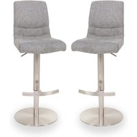 Montera Grey Gas Lift Bar Stool In Pair With Steel Base