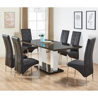Product photograph showing Monton Black Glass Extendable Dining Table And 6 Dining Chairs