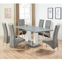 Monton Grey Glass Extendable Dining Table And 6 Dining Chairs