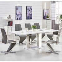 Monton Extending Large Dining Table White Gloss And 8 Gia Chairs