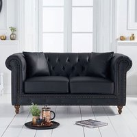Product photograph showing Montrose Leather 2 Seater Sofa In Black